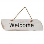 Wandschild Welcome, Dekoschild, Shabby-Look 10x43x1cm weiß