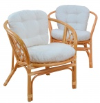 2x Rattansessel H135, Korbsessel Sessel, mit Sitzkissen, honigfarben, 82x66x68cm
