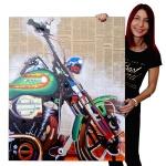 Ölgemälde Motorrad, 100% handgemaltes Wandbild Gemälde XL, 100x80cm