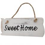 Wandschild Sweet Home, Dekoschild, Shabby-Look 10x25x1cm weiß