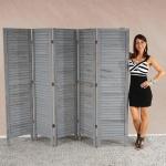 Paravent 170x228x2cm, Shabby-Look, Vintage grau