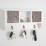 Schlüsselbrett Pitea, Schlüsselkasten Schlüsselboard mit Türen shabby braun