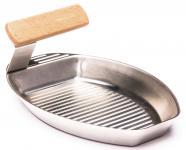 Grillpfännchen HE22, Gemüse-Pfännchen Grill-Raclette, Griff abnehmbar, 25x16cm