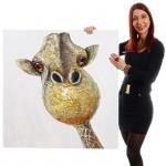Ölgemälde Giraffe, 100% handgemalt, 90x90cm