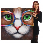 Ölgemälde Hipster Katze, 100% handgemalt XL, 90x90cm