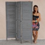 Paravent 170x138x2cm, Shabby-Look, Vintage grau