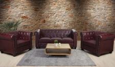 Luxus 3-1-1 Sofagarnitur Couchgarnitur Loungesofa Chesterfield Kunstleder eckige Füße, rot-braun