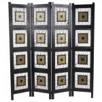 Paravent Antalya, Raumteiler Trennwand Sichtschutz, Ornamente, schwarz, 170x161cm