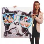Ölgemälde Bulldogge, 100% handgemalt, 80x80cm