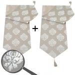 2x Tischläufer Barock, Tischdecke Tischdeko Mitteldecke, beige silber Glanz-Effekt 180x33cm