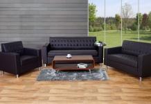 3-2-1 Sofagarnitur Kunda, Couch Loungesofa Kunstleder, Metall-Füße coffee