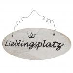 Wandschild Lieblingsplatz, Dekoschild, Shabby-Look 10x25x1cm weiß