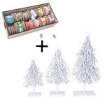 3er Set Dekobäume und Deko Schnurbox, 12 Rollen Weihnachtsbaum Dekotanne 60/28/12cm