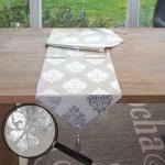Tischläufer Barock, Tischdecke Tischdeko Mitteldecke, beige silber Glanz-Effekt 180x33cm