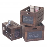 3er Set Holzkiste Troyes, Aufbewahrungsbox mit Tafel, Shabby-Look Vintage braun