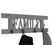 Wandgarderobe Family, Garderobe Garderobenpaneel, Shabby-Look Vintage 60x20cm grau