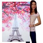 Ölgemälde Eiffelturm, 100% handgemaltes Wandbild Gemälde XL, 100x70cm