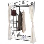 Garderobe Genf, Metallregal Kleiderschrank mit Vorhang