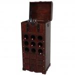 Weinregal Calvados T253, Flaschenregal Regal Holzregal für 9 Flaschen, Kolonialstil 104x45x38cm