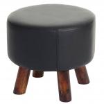 Sitzhocker Bondy, Ottomane Hocker Fußhocker, rund Kunstleder schwarz
