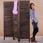Paravent 170x138x2cm, Shabby-Look, Vintage braun