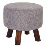 Sitzhocker Bondy, Ottomane Hocker Fußhocker, Ø 42cm rund Textil grau