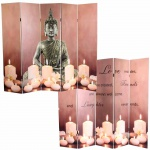 LED-Paravent Buddha, Trennwand Raumteiler, Timer netzbetrieben 180x200cm 15 LEDs