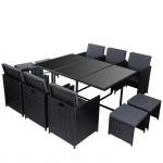 Poly-Rattan Garten-Garnitur Kreta, Lounge-Set Sitzgruppe 10 Sitzplätze