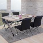 Esszimmergarnitur Fano, Tisch + 4 Stühle, 3D-Struktur Kunstleder
