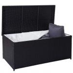 Poly-Rattan Kissenbox Barry, Truhe Auflagenbox Gartenbox, 220l schwarz