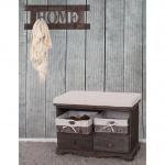 Garderobe mit Sitzbank mit 2 Körben, Shabby-Look