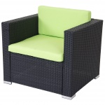Modulares Poly-Rattan Sofa ROM Basic, Sessel Loungesessel, Alu