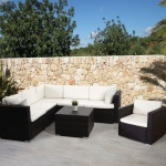 Poly-Rattan-Garnitur ROM Basic, Sofa Sessel Lounge-Set, Alu