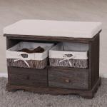 Sitzbank Kommode mit 2 Körben, Shabby-Look, Vintage
