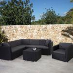 Poly-Rattan-Garnitur ROM Basic, Sofa Sessel Lounge-Set, Alu