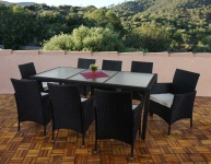 Poly-Rattan Garten-Garnitur Ariana, 8 Sessel+Tisch, Glas