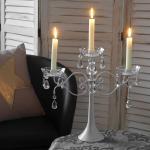 Kerzenständer Kristall, Kerzenleuchter Kerzenhalter, Acryl 3-armig 37x40x40cm