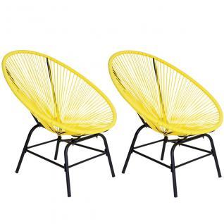 2x Poly-Rattan Gartensessel Suzano, Gartenstuhl Spaghetti Stuhl, 70er Retro-Design