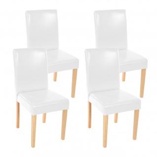 4x Esszimmerstuhl Stuhl Littau Leder, weiß helle Beine