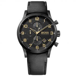 Hugo Boss Aeroliner Chronograph Uhr Herrenuhr Leder schwarz