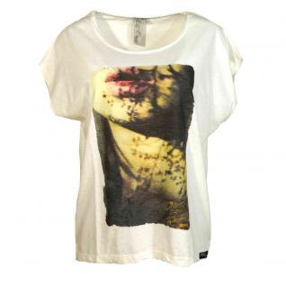 M.O.D Damen T-Shirt Kurzarm Oversize Shirt mit Print Shirt Weiß Gr. L