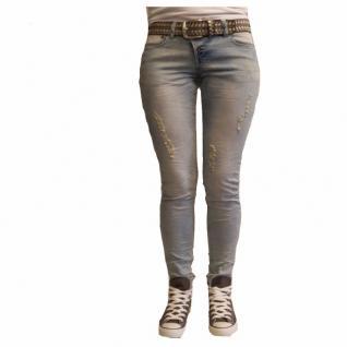 Damen Jeans Hose 5 Pocket Rock Angel Slim Fit Hellblau Gr. XS