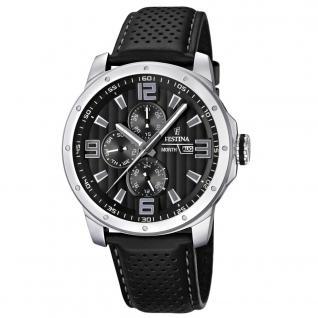 FESTINA F16585/4 SPORT Uhr Herrenuhr Lederarmband Datum schwarz