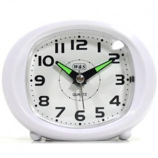 W&S 200604 Wecker Uhr weiß leise Sekunde Analog Licht Alarm