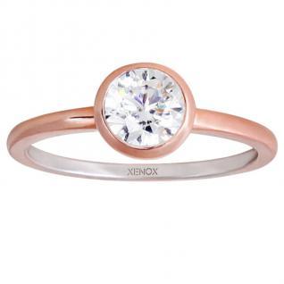 XENOX XS7280R Damen Ring Silver Circle rosé Rose weiß 54 (17.2)