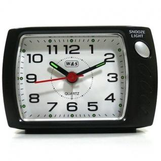W&S 201121 Wecker Uhr anthrazit-weiß leise Sekunde Analog Licht Alarm