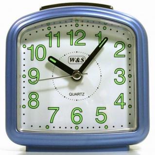 W&S 200703 Wecker Uhr blau-weiß leise Sekunde Analog Licht Alarm