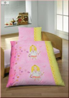 Dobnig Fein Biber Kinder Bettwäsche 2tlg. Fee Rosa-Gelb 100x135 cm