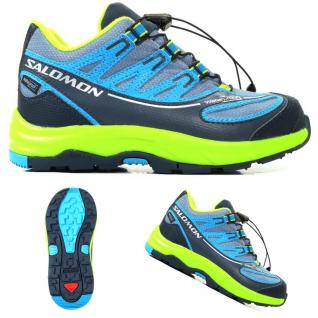Salomon Kinder XA PRO 2 WP K Grau-Blau-Grün 373223 Trail Schuhe Gr. 30