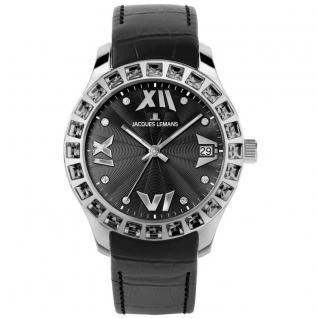 Jacques Lemans 1-1571A Rome Uhr Damenuhr Lederarmband Datum schwarz